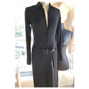 Ralph Lauren Black Label Stretch Wool Shirt Dress